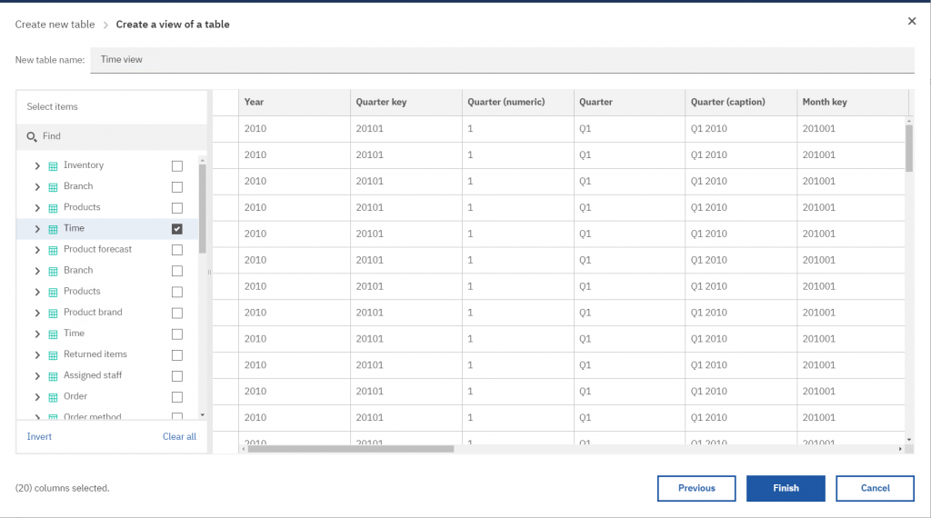 Building a custom table in Cognos