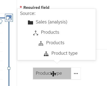 It's much easier to source a field in Cognos Analytics 11.1.6