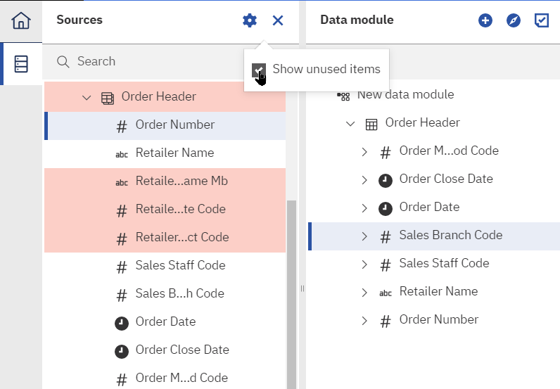Seeing unused fields makes it easy to adjust Cognos 11.1.6 to match the structure of your database