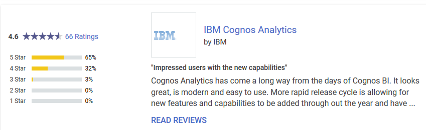 Cognos ranks much higher in Gartner's peer insights platform