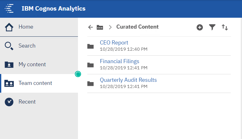 Organize cognos reports that are critical into the curated content location