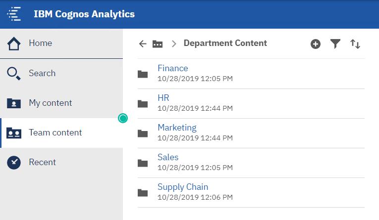 Organize cognos content by department