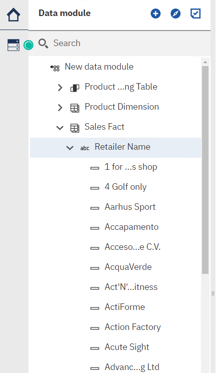 Cognos Analytics 11.1.5 adds the ability for members to appear in the data tree regardless of source type