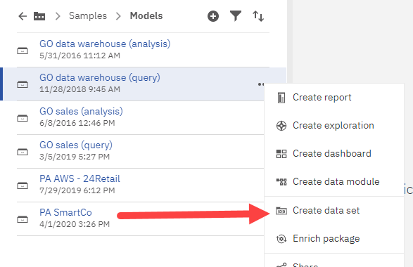 The 'create data set' capability is pretty well hidden in Cognos Analytics