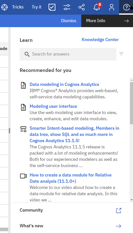 The 'Learn' pane adds lots of end users support to the Cognos Analytics 11.1.6 UI