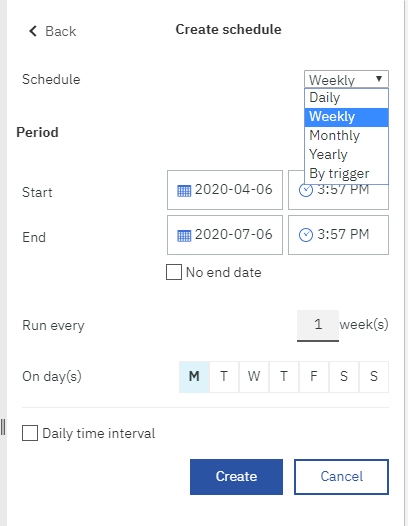 Data Sets and Reports have all the same scheduling options