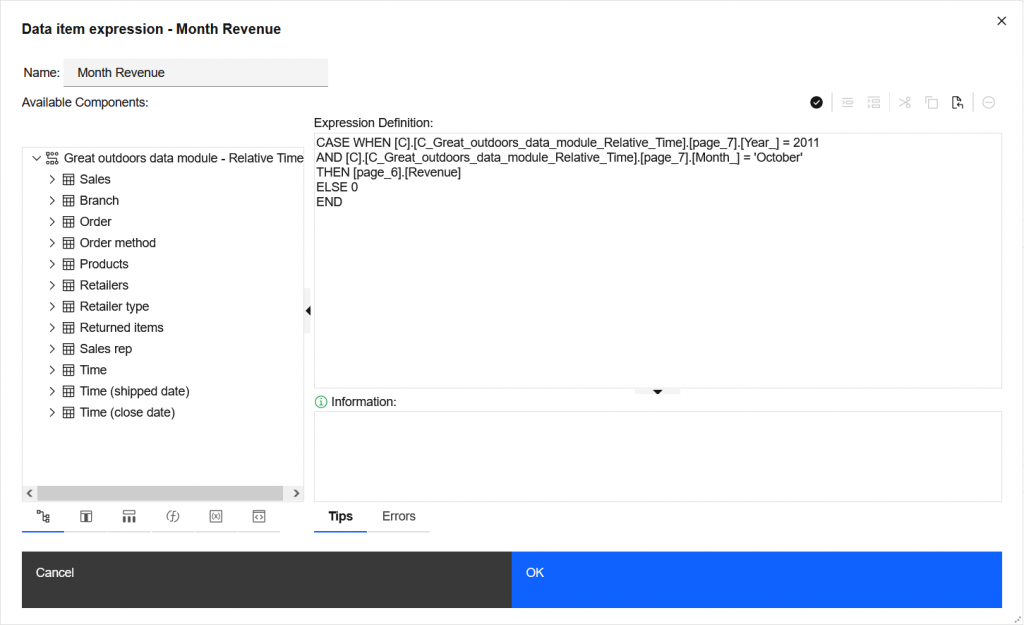 An example of replacing a Cognos union query with a calculation.